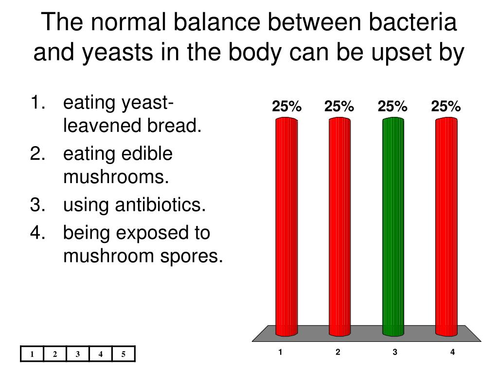 The normal balance between bacteria and yeasts in the body can be upset by