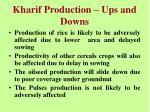 kharif production ups and downs