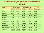 state wise major gains in production of wheat
