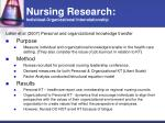 nursing research individual organizational interrelationship