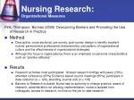 nursing research organizational measures20