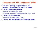 clusters and tpc software 8 00