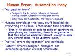 human error automation irony