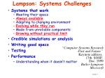 lampson systems challenges