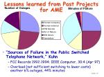 lessons learned from past projects for ame15