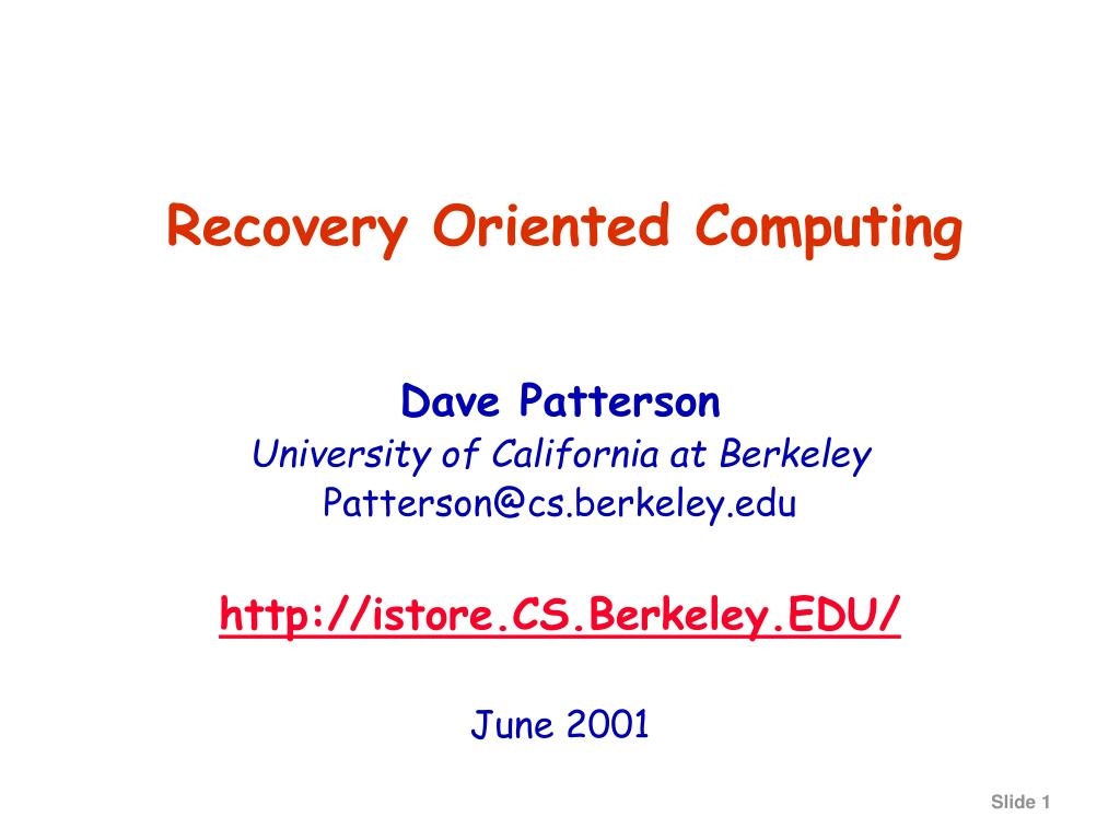 recovery oriented computing l.