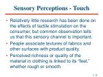 sensory perceptions touch