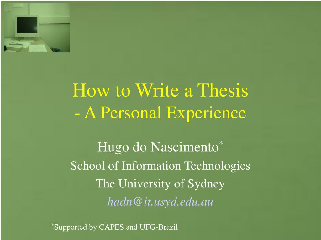 how to write a thesis a personal experience l.