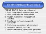 cic benchmarks of engagement