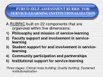 furco self assessment rubric for service learning institutionalization