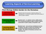 learning aspects of service learning