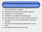problems with service learning evaluation