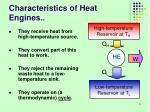 characteristics of heat engines