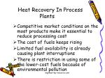 heat recovery in process plants