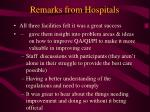 remarks from hospitals