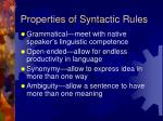 properties of syntactic rules