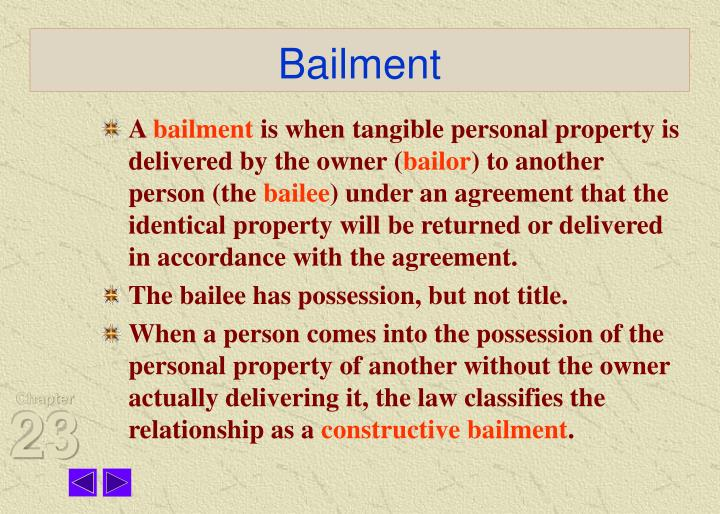 Ppt Chapter 23 Bailments Powerpoint Presentation Id343469