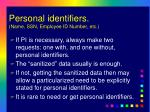 personal identifiers name ssn employee id number etc