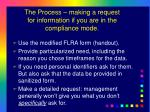 the process making a request for information if you are in the compliance mode