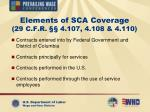 elements of sca coverage 29 c f r 4 107 4 108 4 110