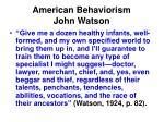 american behaviorism john watson