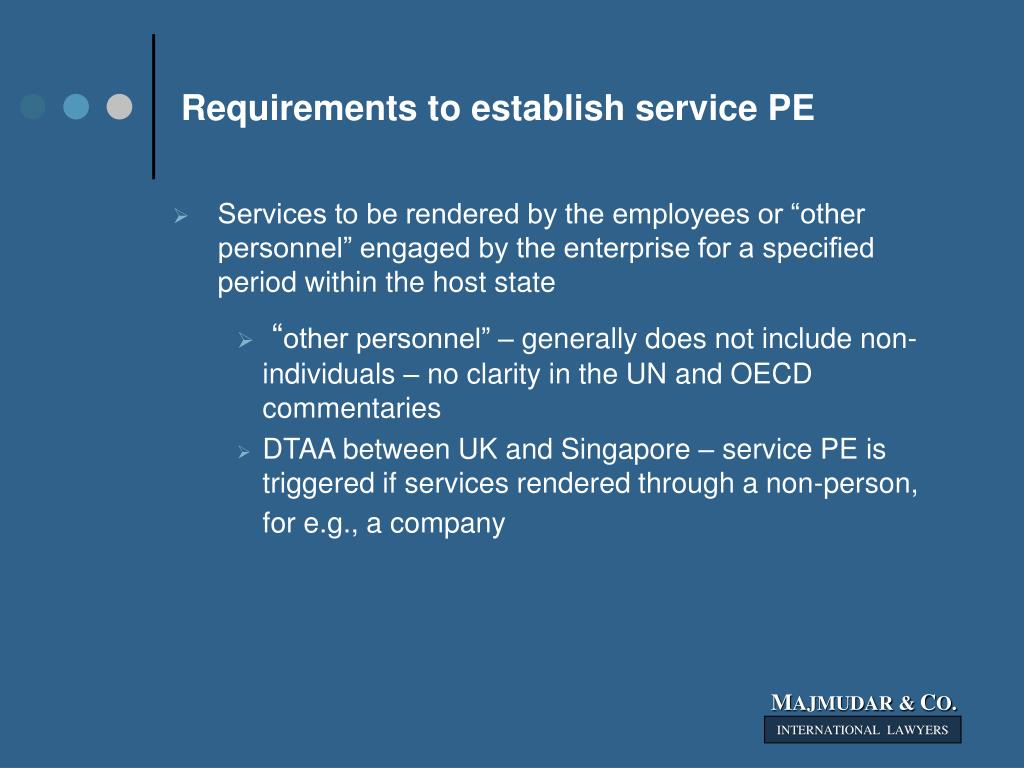 Requirements to establish service PE