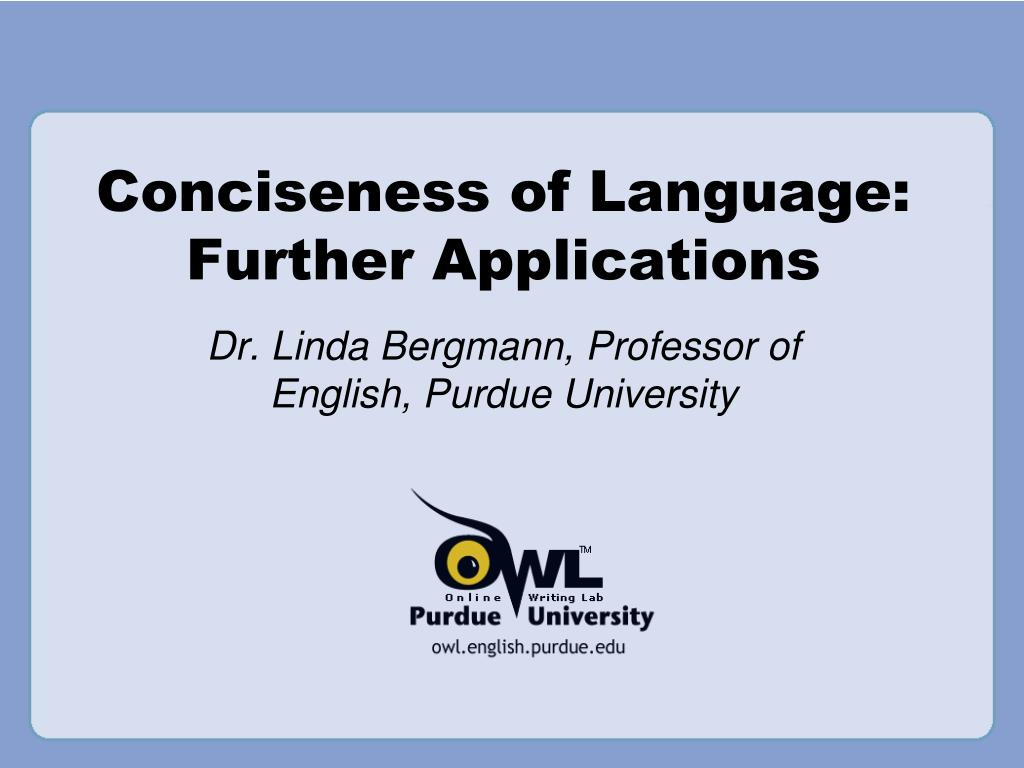 conciseness of language further applications l.