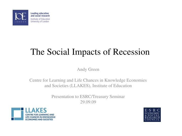 the social impacts of recession n.