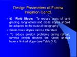 design parameters of furrow irrigation contd12