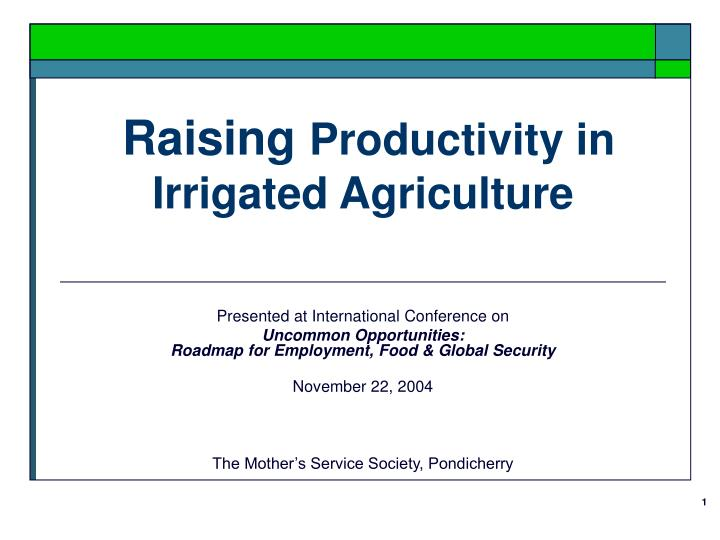 raising productivity in irrigated agriculture n.