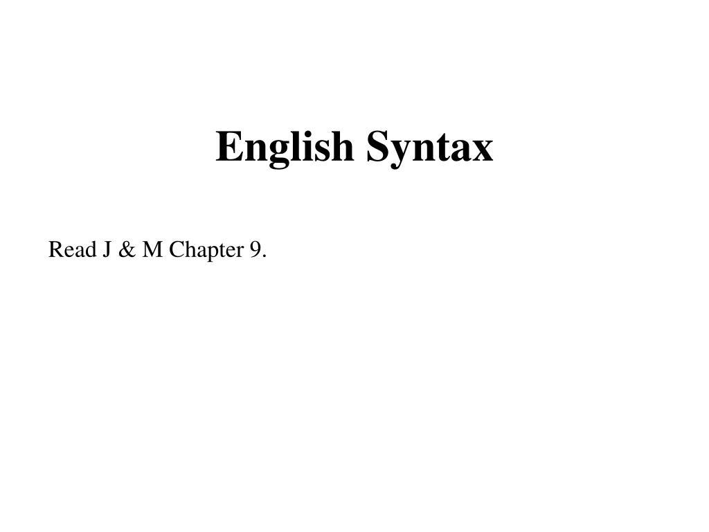 english syntax l.