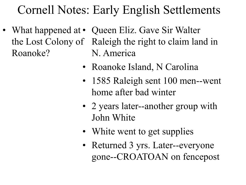 cornell notes early english settlements l.