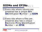 sidns and efins