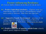 factors influencing resilience