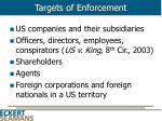 targets of enforcement