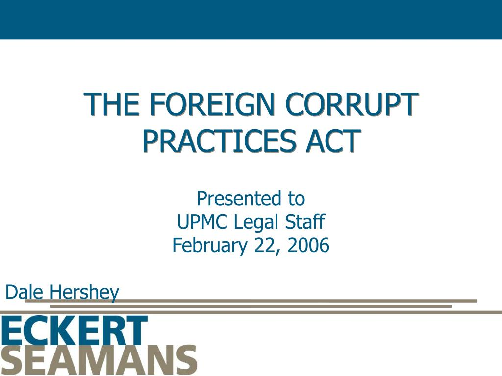 the foreign corrupt practices act l.