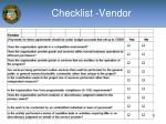 checklist vendor