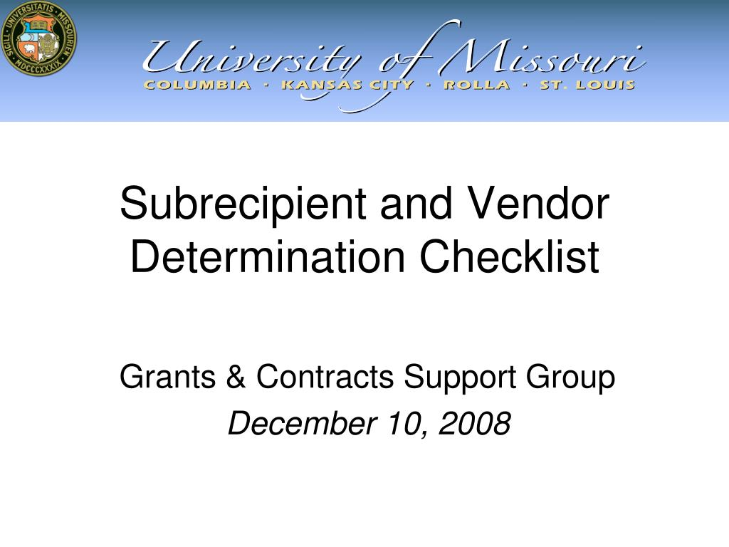 subrecipient and vendor determination checklist l.