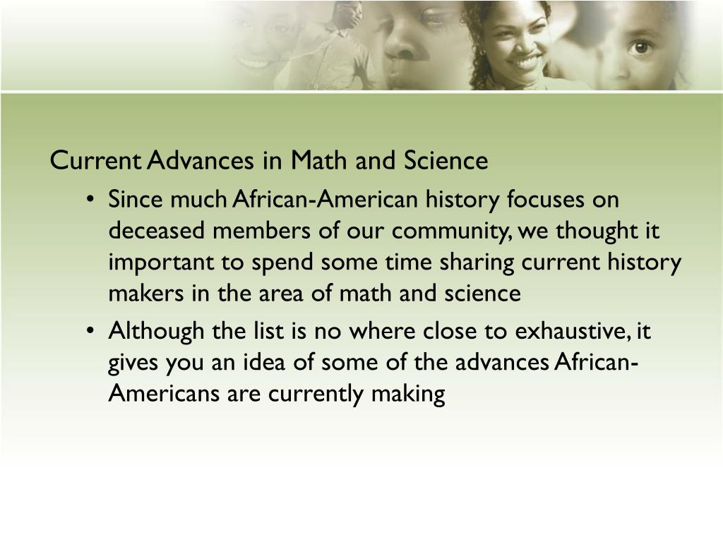 PPT - CURRENT AFRICAN-AMERICAN ACHIEVEMENTS IN MATH AND SCIENCE