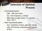 selection of optimal process