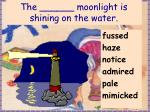 the moonlight is shining on the water