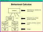 behavioral calculus