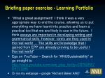 briefing paper exercise learning portfolio