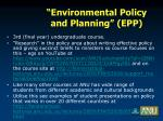 environmental policy and planning epp