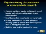 keys to creating circumstances for undergraduate research