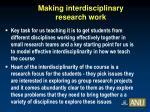 making interdisciplinary research work