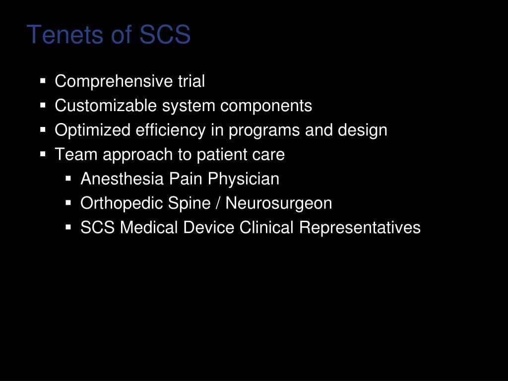 Tenets of SCS
