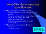 what other generations say about boomers