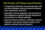 the practice of evidence based practice
