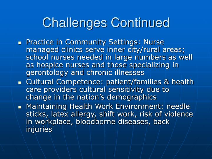 challenges to community nursing 1 ethical and legal issues in community health nursing and its implications introduction the community health nurse experiences and many ethical conflicts are.
